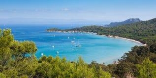 Panoramische Ansicht von Porquerolles Insel in Frankreich stockfoto