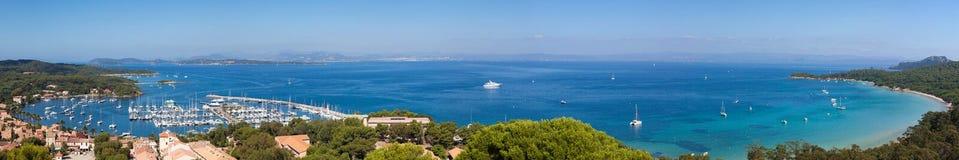 Panoramische Ansicht von Porquerolles Insel in Frankreich Lizenzfreie Stockbilder