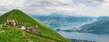 Panoramische Ansicht von See Como stockbilder