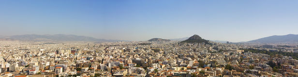 Panoramische Art von Athenes von der Akropolise Lizenzfreie Stockbilder