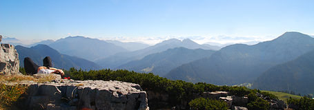 Panoramische bergmening stock fotografie