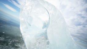 Panoramische Bewegung entlang dem Eis-Pferd stock footage