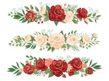 Panoramische bloemengrenzen Nam knop, bloemgrens en van de het panorama de bloemenbanner van de rozenkopbal vectorillustratie toe vector illustratie