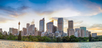 Panoramische cityscape van Sydney bij zonsondergang, NSW, Australië Stock Afbeelding