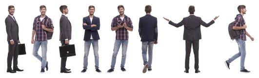 Panoramische collage van de zelf-gemotiveerde jonge mens Geïsoleerd op wit stock foto's