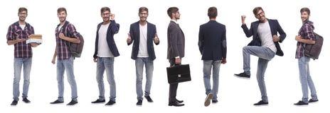 Panoramische collage van de zelf-gemotiveerde jonge mens Ge?soleerd op wit stock afbeelding