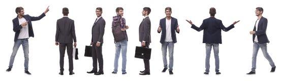 Panoramische collage van de zelf-gemotiveerde jonge mens Ge?soleerd op wit royalty-vrije stock foto's