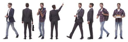 Panoramische collage van de zelf-gemotiveerde jonge mens Ge?soleerd op wit royalty-vrije stock afbeelding