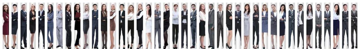 Panoramische collage van een groot en succesvol commercieel team royalty-vrije stock foto