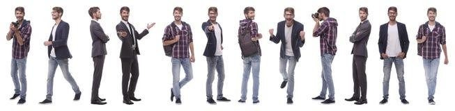 Panoramische collage van een veelbelovende jonge mens stock foto