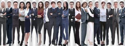Panoramische collage van groepen succesvolle werknemers stock fotografie