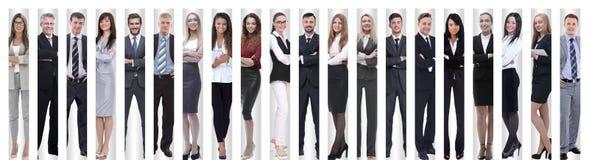 Panoramische collage van groepen succesvolle werknemers stock afbeelding