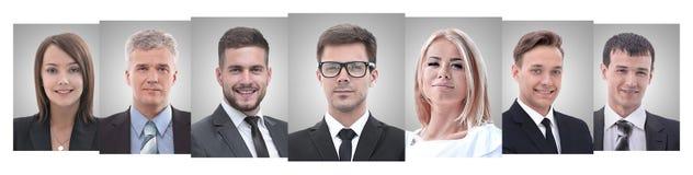 Panoramische collage van portretten van jonge ondernemers stock foto