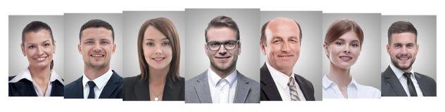 Panoramische collage van portretten van jonge ondernemers stock fotografie