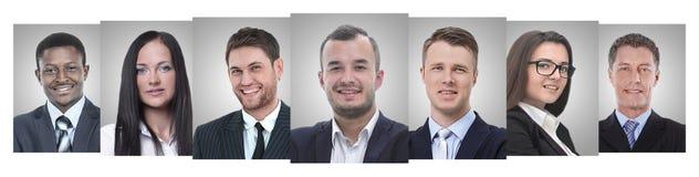 Panoramische collage van portretten van jonge ondernemers royalty-vrije stock foto's