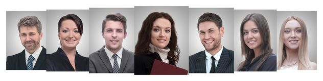 Panoramische collage van portretten van jonge ondernemers royalty-vrije stock afbeeldingen