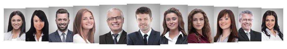 Panoramische collage van portretten van succesvolle bedrijfsmensen stock foto