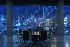 Panoramische conferentieruimte in modern bureau, cityscape van de wolkenkrabbers van New York bij nacht, Manhattan vector illustratie