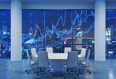 Panoramische conferentieruimte in modern bureau, cityscape van de wolkenkrabbers van Singapore bij nacht De financiële grafiek is stock illustratie