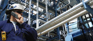 Panoramische de industrie van de olie en van het gas Stock Foto's