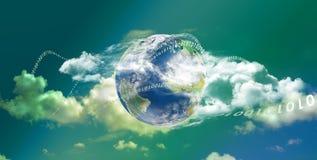 Panoramische de technologie van de Gegevensverwerking van de wolk Stock Foto's