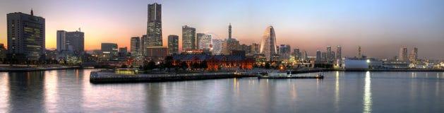 Panoramische de zonsondergang van Yokohama, Japan Stock Foto