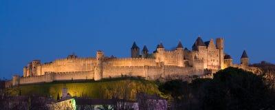 Panoramische Dunkelheit von Carcassonne Stockbilder