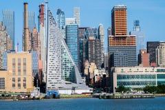 Panoramische foto van de horizon van Manhattan, skyscrappers, gebouwen Stock Foto