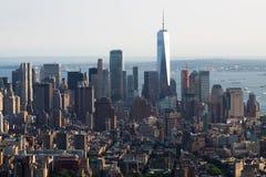 Panoramische foto van de horizon van Manhattan, skyscrappers, gebouwen Stock Fotografie