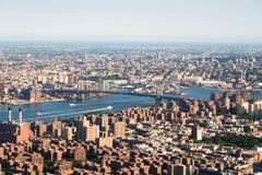 Panoramische foto van de horizon van Manhattan, skyscrappers, gebouwen Royalty-vrije Stock Afbeelding