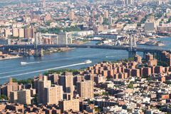 Panoramische foto van de horizon van Manhattan, skyscrappers, gebouwen Royalty-vrije Stock Afbeeldingen