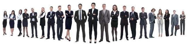 Panoramische foto van een professioneel talrijk commercieel team stock foto