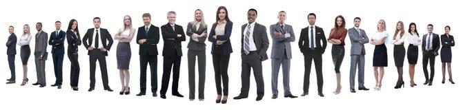 Panoramische foto van een professioneel talrijk commercieel team stock foto's