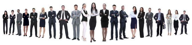 Panoramische foto van een professioneel talrijk commercieel team royalty-vrije stock foto's