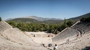 Panoramische foto van het Oude Theater van Epidaurus, Griekenland Stock Fotografie