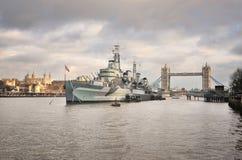 Panoramische foto van rivier Theems, Londen Stock Afbeelding