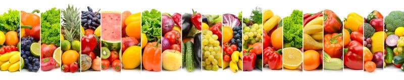Panoramische fotogroenten en vruchten in kader van verticale strook Royalty-vrije Stock Afbeeldingen