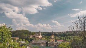 Panoramische Frühlingsansicht von Buchach-Stadt Ternopil Oblast, Ukraine Stockfotografie