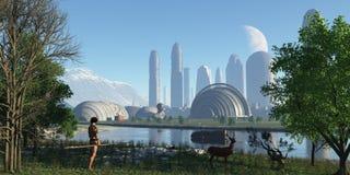 Panoramische futuristische Stadt Lizenzfreie Stockfotos