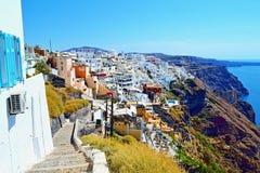 Panoramische gang aan het eiland Griekenland van Fira Santorini Stock Foto