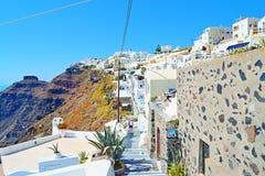 Panoramische gang aan het eiland Griekenland van Fira Santorini Stock Foto's