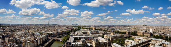 Panoramische gedetailleerde mening van Parijs van Notre Dame Royalty-vrije Stock Fotografie
