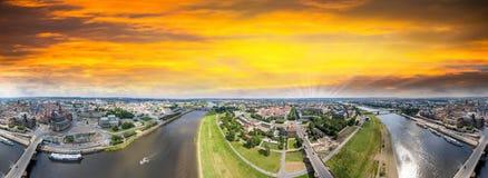 Panoramische 360 graden luchtmenings van Dresden Altstadt en Neust Stock Fotografie