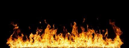 Panoramische Grenze von orange Flammen Stockfoto