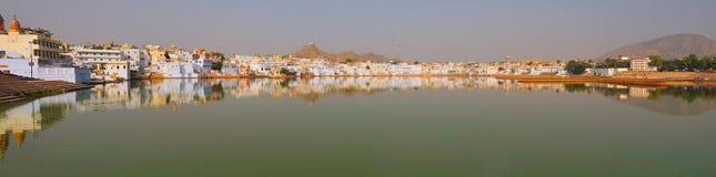 Panoramische het meer van Pushkar Royalty-vrije Stock Afbeelding