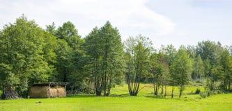 Panoramische Heuscheune auf dem grünen Gebiet Stockfoto