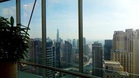 Panoramische horizon en gebouwen van glasvenster voorraad Prachtige mening over de stad van flat stock footage