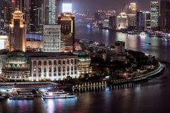 Panoramische horizon van Shanghai stock afbeeldingen