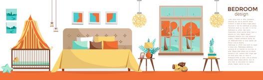 Panoramische horizontale banner met slaapkamermeubilair: tweepersoonsbed, babybed met luifel op witte achtergrond Zaal met bed en stock illustratie