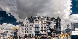 Panoramische infrarode mening van de straat van Brussel Royalty-vrije Stock Foto's